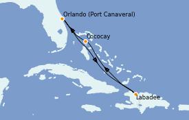 Itinéraire de la croisière Caraïbes de l'Est 6 jours à bord du Mariner of the Seas