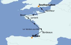 Itinerario de crucero Atlántico 8 días a bordo del Seven Seas Voyager