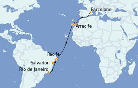 Itinéraire de la croisière Transatlantiques et Grands Voyages 2022 15 jours à bord du Costa Favolosa