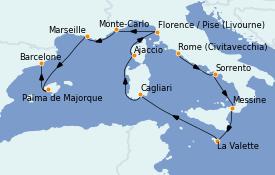 Itinéraire de la croisière Méditerranée 11 jours à bord du Riviera