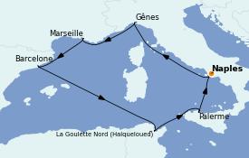 Itinéraire de la croisière Méditerranée 8 jours à bord du MSC Opera