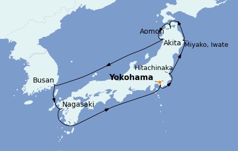 Itinéraire de la croisière Asie 9 jours à bord du Diamond Princess