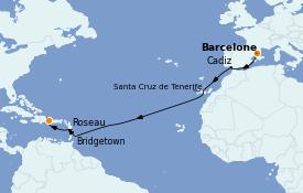 Itinéraire de la croisière Transatlantiques et Grands Voyages 2022 15 jours à bord du Costa Pacifica