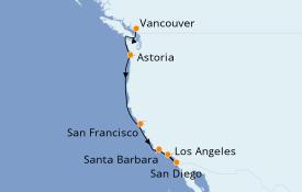 Itinéraire de la croisière Californie 8 jours à bord du Grand Princess