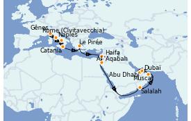 Itinéraire de la croisière Méditerranée 21 jours à bord du Costa Firenze