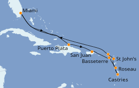 Itinéraire de la croisière Caraïbes de l'Est 12 jours à bord du Seven Seas Splendor