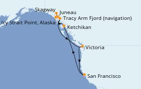 Itinéraire de la croisière Alaska 12 jours à bord du Carnival Miracle