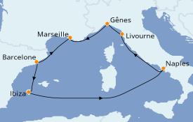 Itinéraire de la croisière Méditerranée 8 jours à bord du MSC Divina