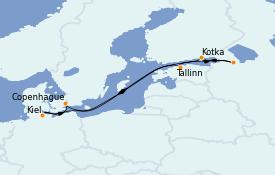 Itinéraire de la croisière Mer Baltique 8 jours à bord du MSC Seaview