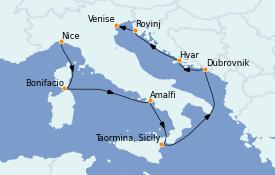 Itinéraire de la croisière Méditerranée 9 jours à bord du Le Jacques Cartier