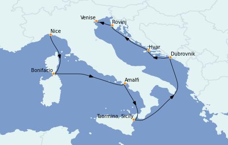 Itinéraire de la croisière Méditerranée 8 jours à bord du Le Jacques Cartier