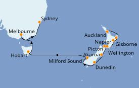 Itinéraire de la croisière Australie 2020 16 jours à bord du Azamara Journey