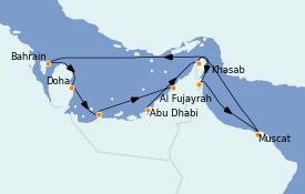 Itinéraire de la croisière Dubaï - Emirats 11 jours à bord du MS Nautica