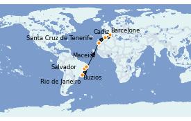 Itinéraire de la croisière Transatlantiques et Grands Voyages 2022 16 jours à bord du MSC Sinfonia