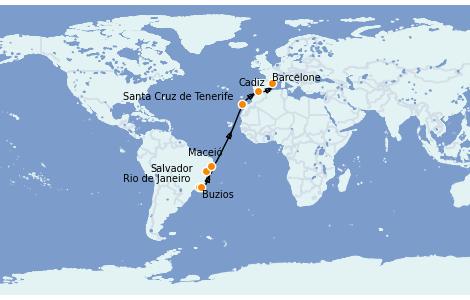 Itinéraire de la croisière Transatlantiques et Grands Voyages 2022 15 jours à bord du MSC Sinfonia
