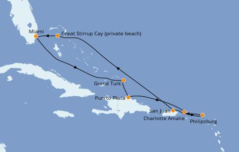 Itinéraire de la croisière Caraïbes de l'Est 9 jours à bord du Norwegian Sky