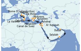 Itinéraire de la croisière Tour du Monde 2022 23 jours à bord du Island Princess