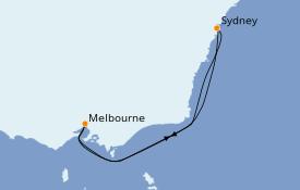 Itinéraire de la croisière Australie 2020 7 jours à bord du Carnival Splendor