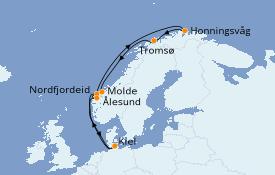 Itinéraire de la croisière Fjords & Norvège 11 jours à bord du MSC Splendida