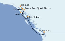 Itinéraire de la croisière Alaska 8 jours à bord du Le Soléal