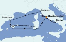 Itinéraire de la croisière Méditerranée 8 jours à bord du Norwegian Epic