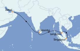 Itinéraire de la croisière Dubaï - Emirats 12 jours à bord du Queen Victoria