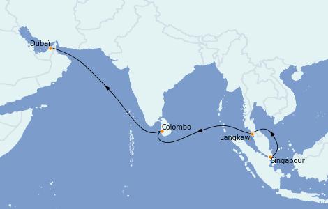 Itinéraire de la croisière Dubaï - Emirats 11 jours à bord du Queen Victoria