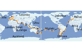 Itinéraire de la croisière Australie 2022 129 jours à bord du MSC Poesia