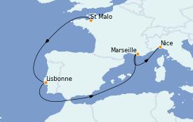 Itinerario de crucero Mediterráneo 10 días a bordo del Le Bellot