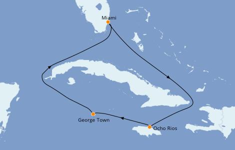 Itinéraire de la croisière Caraïbes de l'Ouest 5 jours à bord du Carnival Sunrise