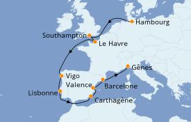 Itinéraire de la croisière Méditerranée 12 jours à bord du MSC Preziosa
