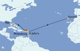 Itinéraire de la croisière Transatlantiques et Grands Voyages 2021 14 jours à bord du MSC Seashore