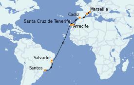 Itinerario de crucero Trasatlántico y Grande Viaje 2022 19 días a bordo del Costa Smeralda