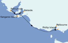 Itinéraire de la croisière Australie 2022 6 jours à bord du Grand Princess