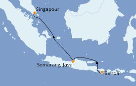 Itinéraire de la croisière Asie 6 jours à bord du Silver Muse