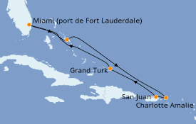 Itinéraire de la croisière Caraïbes de l'Est 8 jours à bord du ms Eurodam