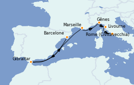 Itinéraire de la croisière Méditerranée 8 jours à bord du Regal Princess