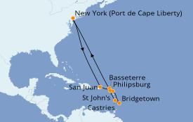 Itinéraire de la croisière Caraïbes de l'Est 13 jours à bord du Anthem of the Seas