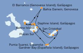 Itinéraire de la croisière Îles Galapagos 8 jours à bord du Silver Origin