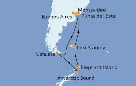 Itinéraire de la croisière Exploration polaire 16 jours à bord du Azamara Pursuit