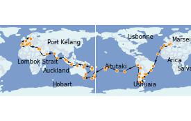 Itinéraire de la croisière Australie 2022 128 jours à bord du MSC Poesia