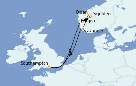 Itinéraire de la croisière Fjords & Norvège 8 jours à bord du Sky Princess