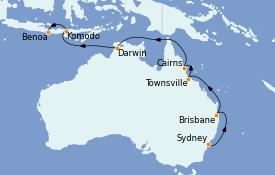 Itinéraire de la croisière Australie 2021 15 jours à bord du MS Regatta