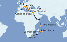 Itinéraire de la croisière Transatlantiques et Grands Voyages 2021 26 jours à bord du MSC Musica
