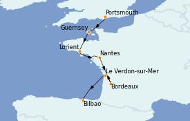 Itinerario de crucero Atlántico 8 días a bordo del MS Sirena