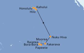 Itinéraire de la croisière Polynésie 16 jours à bord du Seven Seas Navigator