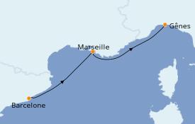 Itinéraire de la croisière Méditerranée 3 jours à bord du MSC Virtuosa