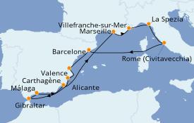 Itinéraire de la croisière Méditerranée 13 jours à bord du Celebrity Infinity