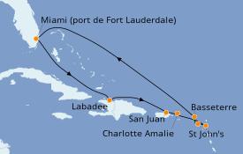 Itinéraire de la croisière Caraïbes de l'Est 11 jours à bord du Serenade of the Seas