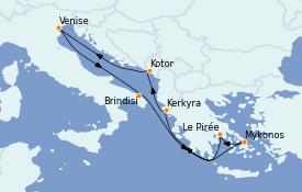 Itinéraire de la croisière Grèce & Adriatique 8 jours à bord du MSC Armonia
